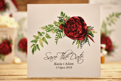 Bilecik Save The Date do zaproszenia - Kalia nr 7 - Bordowe piwonie