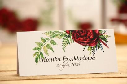 Winietki na stół weselny, dodatki ślubne - Kalia nr 7 - Bordowe piwonie