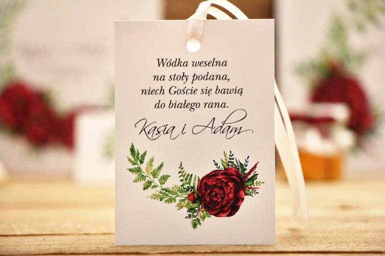 Zawieszki na butelkę, akcesoria ślubne, weselne - Kalia nr 7 - Bordowe kwiaty