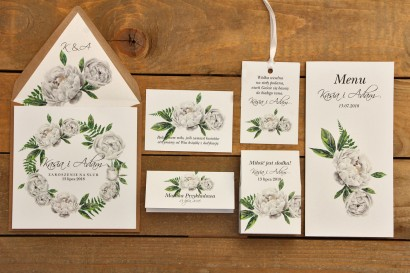 Zestw próbny - Zaproszenia ślubne w kolorowej ekologicznej oraz dodatki i podziękowania dla gości weselnych