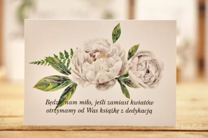 Bilecik do zaproszenia 105 x 74 mm prezenty ślubne wesele - Kalia nr 8 - Białe piwonie