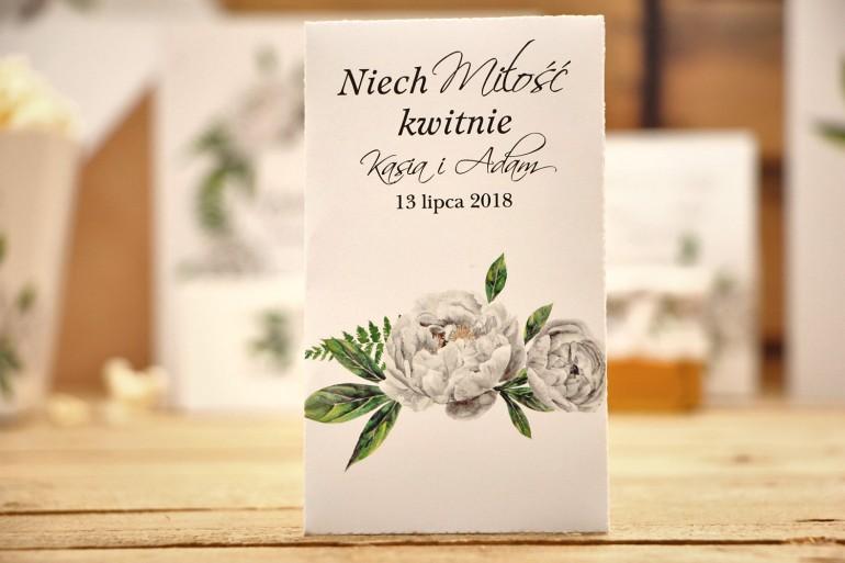 Podziękowania dla Gości weselnych - Nasiona Niezapominajki - Kalia nr 8 - Białe piwonie - dodatki ślubne
