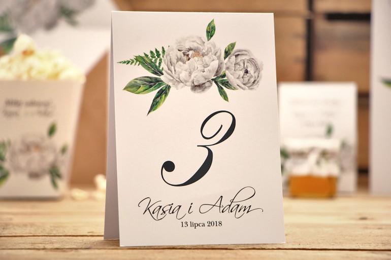 Numery stołów, dodatki na stół weselny - Kalia nr 8 - Białe kwiaty