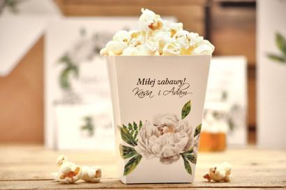 Pudełka na popcorn, akcesoria ślubne - Kalia nr 8 - Białe piwonie