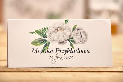 Winietki na stół weselny, dodatki ślubne - Kalia nr 8 - Białe piwonie
