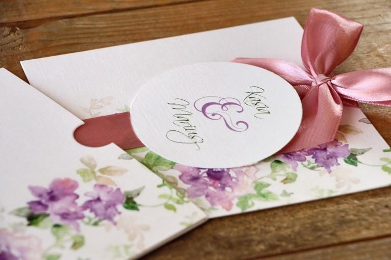Zaproszenia ślubne W Etui Malowane Kwiaty Nr 1 Fioletowe Kwiaty