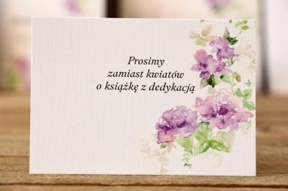 Bilecik do zaproszeń 105 x 74 mm - Malowane Kwiaty nr 1 - fioletowe kwiaty