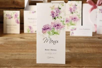 Menu weselne, dodatki ślubne na stół - Malowane Kwiaty nr 1 - Fioletowe kwiaty