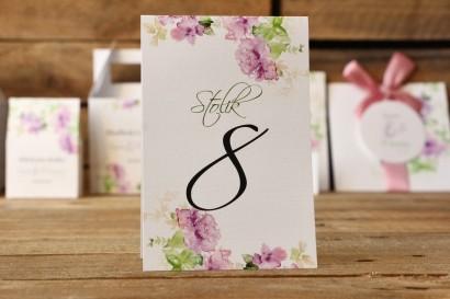 Numery stołów - Malowane Kwiaty nr 1 - Fioletowe - dodatki ślubne, akcesoria na weselny stół