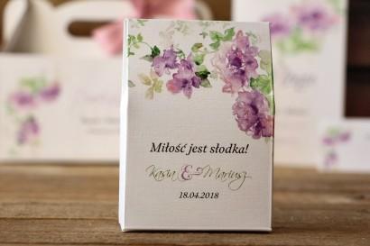 Pudełeczka stojące na cukierki - Malowane Kwiaty nr 2 - podziękowania dla gości weselnych