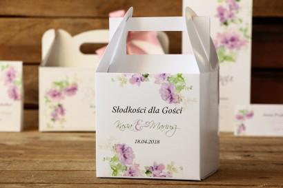 Pudełko na ciasto kwadratowe - Malowane Kwiaty nr 1 - Fioletowe - dodatki ślubne