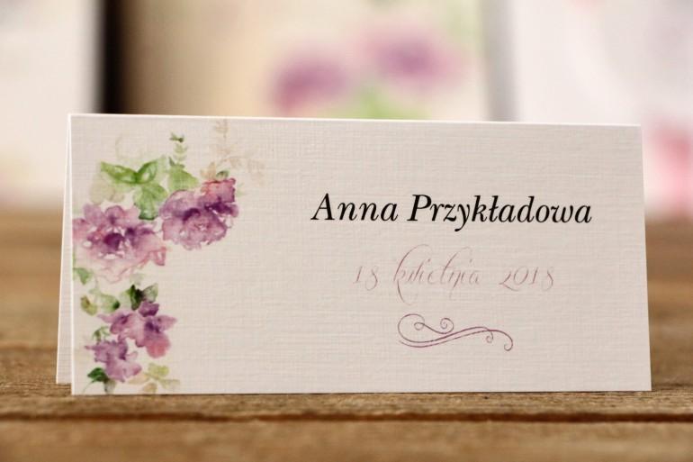Winietki na stół weselny - Malowane Kwiaty nr 1 - Fioletowe kwiaty - dodatki ślubne