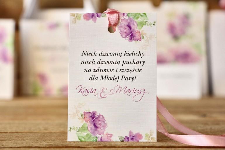 Zawieszki na butelkę, dodatki ślubne - Malowane Kwiaty nr 1 - Fioletowe kwiaty - akcesoria weselne