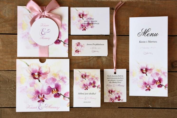 Zaproszenia z dodatkami - Malowane Kwiaty nr 2 - Pastelowe orchidee - Papeteria ślubna
