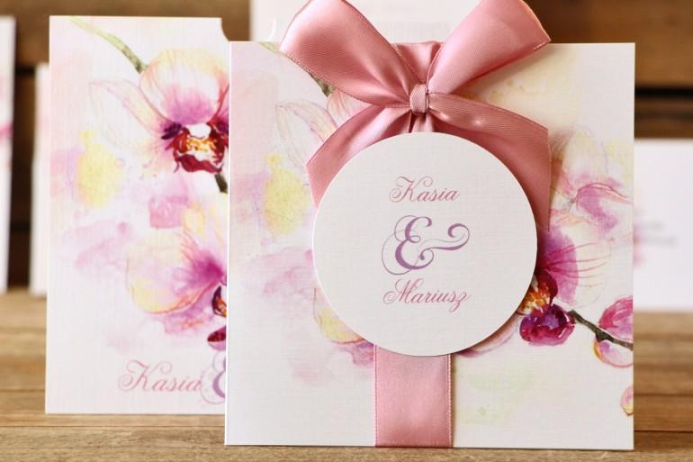 Zaproszenie ślubne - Malowane Kwiaty nr 2 - Pastelowe orchidee - Kwiatowe w etui
