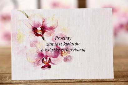 Bilecik do zaproszenia ślubnego 105 x 74 mm - Malowane Kwiaty nr 2 - Orchidee