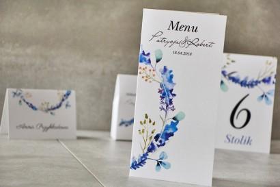 Menu weselne, ślub, stół weselny - Pistacjowe nr 7 - Błękitne zimowe gałązki