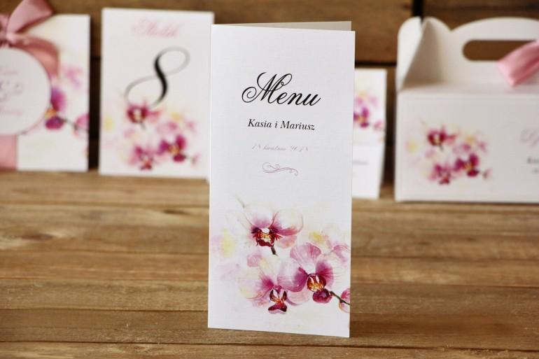 Menu weselne - Malowane Kwiaty nr 2 - Orchidee - dodatki ślubne, akcesoria dla stół weselny