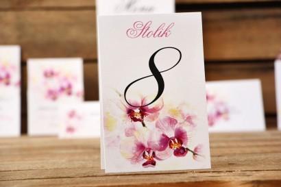 Numery stołów - Malowane Kwiaty nr 2 - Orchidee - dodatki ślubne, akcesoria na stół weselny