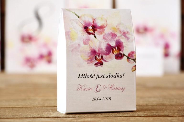 Pudełeczka stojące z cukierkami - Malowane Kwiaty nr 2 - Orchidea - podziękowania dla Gości weselnych