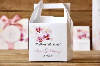 Pudełko na ciasto kwadratowe - Malowane Kwiaty nr 2 - Orchidee - dodatki ślubne