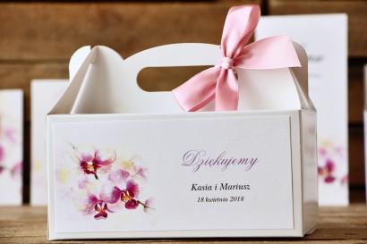 Pudełko na ciasto prostokątne - Malowane Kwiaty nr 2 - orchidee - dodatki ślubne