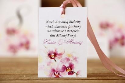 Zawieszka na butelkę - Malowane Kwiaty nr 2 - Orchidea - dodatki ślubne, akcesoria weselne