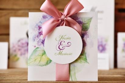 Zaproszenia ślubne w etui - Malowane Kwiaty nr 3 - Fioletowa hortensja