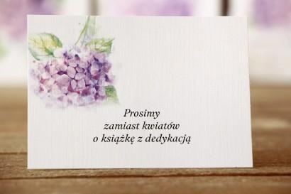 Bilecik do zaproszeń 105 x 74 mm - Malowane Kwiaty nr 3 - Hortensja