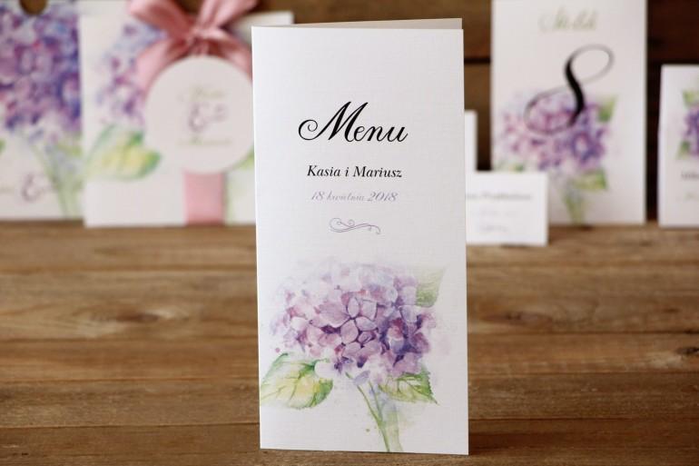 Menu weselne - Malowane Kwiaty nr 3 - Hortensja - dodatki na stół weselny, akcesoria ślubne