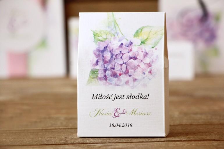 Pudełeczko stojące z cukierkami - Malowane Kwiaty nr 3 - Hortensja - podziękowania dla Gości weselnych