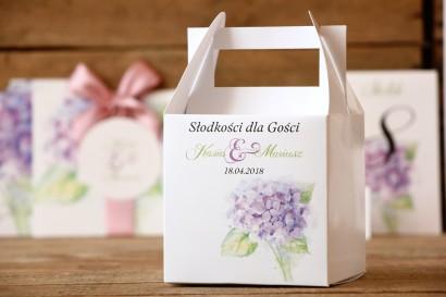 Pudełko na ciasto - Malowane Kwiaty nr 3 - Fioletowa hortensja - dodatki ślubne