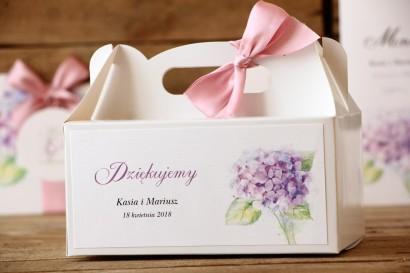Pudełko na ciasto prostokątne - Malowane Kwiaty nr 3 - Hortensja - dodatki ślubne, tort weselny