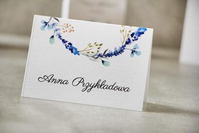 Winietki na stół weselny, ślub - Pistacjowe nr 7 - Zimowe gałązki w odcieniach niebieskiego