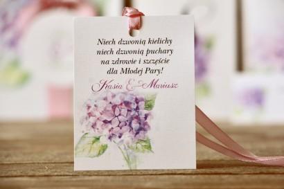 Zawieszka na butelkę - Malowane Kwiaty nr 3 - Hortensja - dodatki ślubne, akcesoria weselne