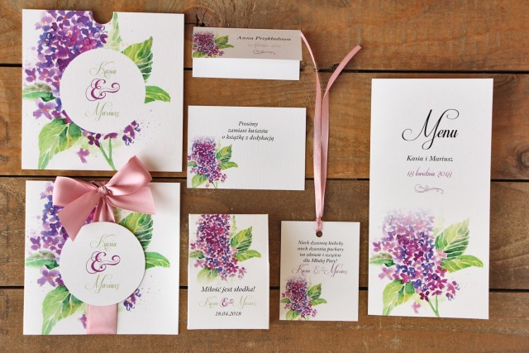 Zaproszenia ślubne z dodatkami - Malowane Kwiaty nr 4 - Kwiaty bzu - papeteria ślubna