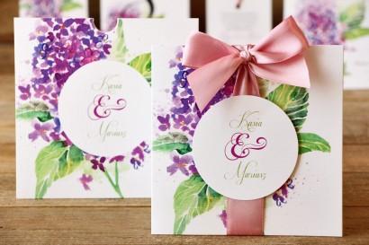 Zaproszenia ślubne w etui - Malowane Kwiaty nr 4 - Fioletowy bez