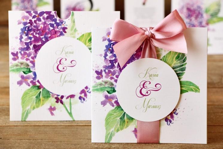 zaproszenia ślubne z kwiatem bzu