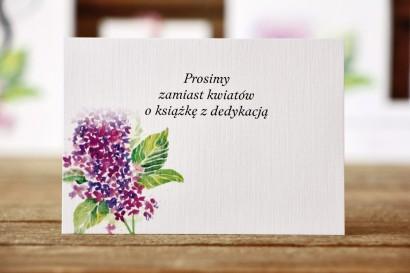 Bileciki do zaproszeń ślubnych - Malowane Kwiaty nr 4 - Fioletowy bez