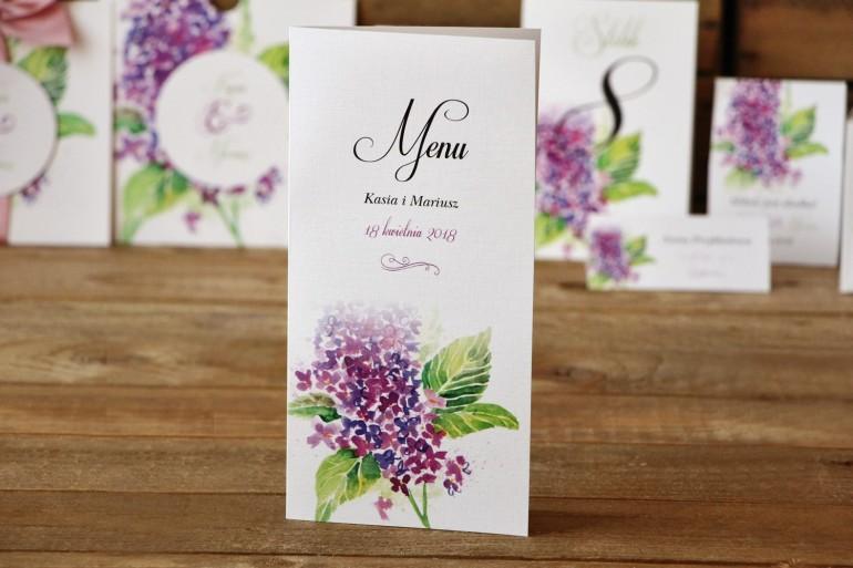 Menu weselne - Malowane Kwiaty nr 4 - Fioletowy bez - dodatki ślubne, akcesoria na stół weselny