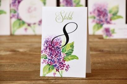 Numery stołów - Malowane Kwiaty nr 4 - Fioletowy bez - dodatki ślubne, akcesoria na stół weselny