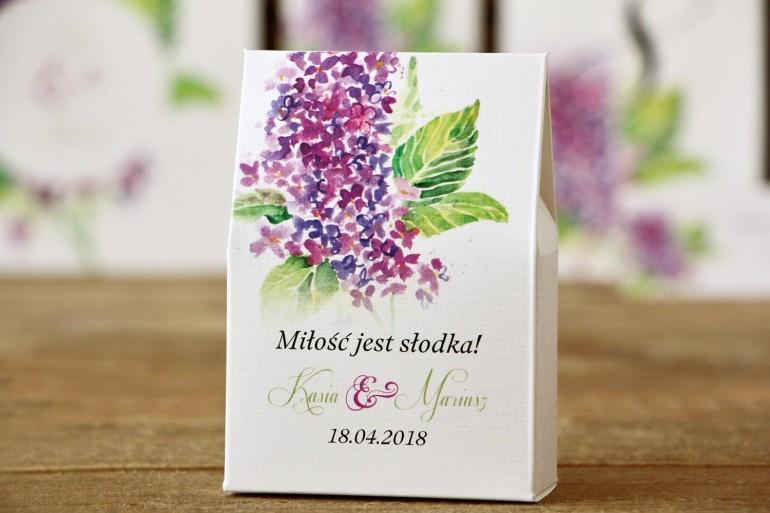 Pudełeczka na cukierki - Malowane Kwiaty nr 4 - Bez - podziękowania dla Gości weselnych