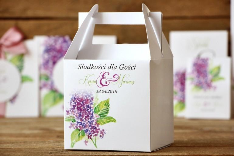 Pudełko na ciasto kwadratowe - Malowane Kwiaty nr 1 - dodatki ślubne, tort weselny