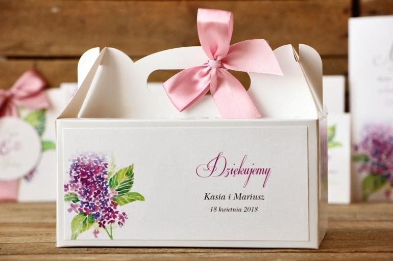 Pudełko na ciasto prostokątne - Malowane Kwiaty nr 4 - Fioletowy bez - dodatki ślubne, tort weselny