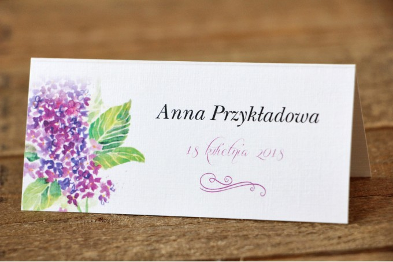 Winietki na stół weselny - Malowane Kwiaty nr 4 - Fioletowy bez - dodatki ślubne, akcesoria weselne
