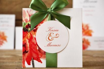Zaproszenia ślubne w etui - Malowane kwiaty nr 5 - Pomarańczowe