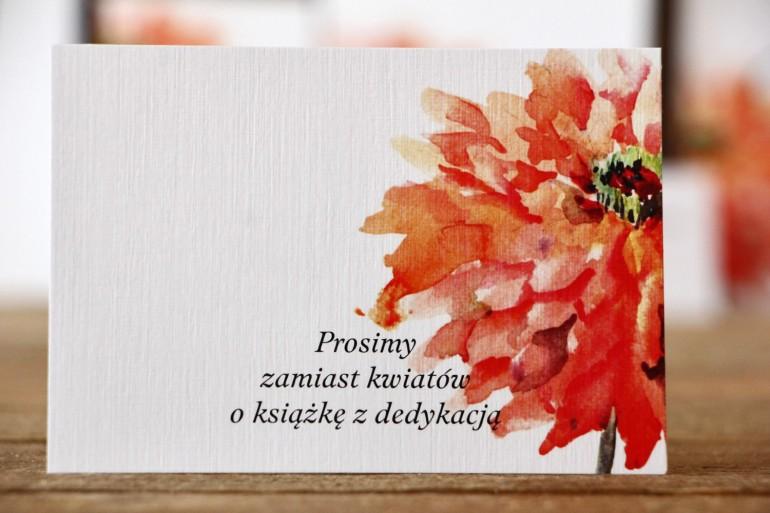 Bilecik do zaproszenia 105 x 74 mm - Malowane Kwiaty nr 5 - Pomarańczowe