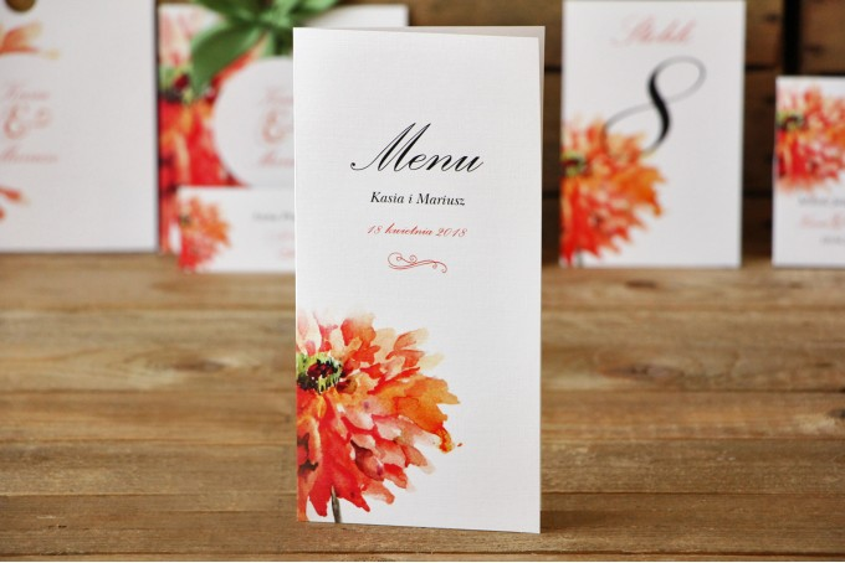 Menu weselne - Malowane Kwiaty nr 5 - Pomarańczowe gerbery - dodatki ślubne, akcesoria na stół weselny