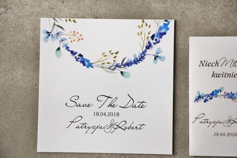 Bilecik Save The Date do zaproszenia - Pistacjowe nr 7 - Zimowe gałązki