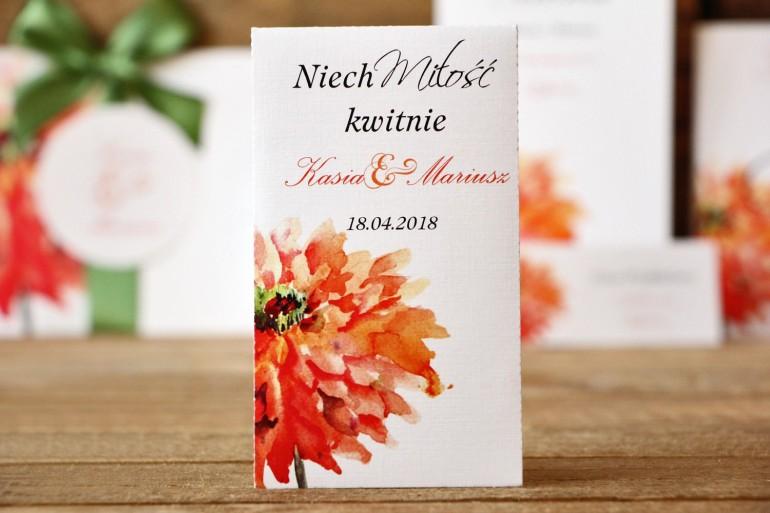 Podziękowania - nasiona Niezapominajki - Malowane Kwiaty nr 5 - Pomarańczowe - dodatki ślubne